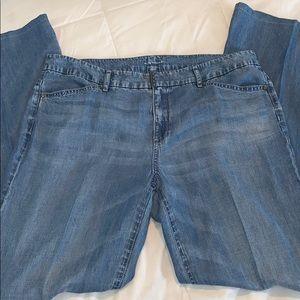 Elie Tahari tencel wide leg chambray Capri pants B